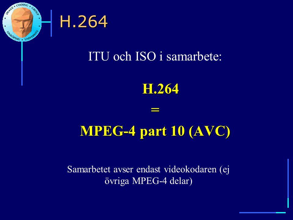H.264 = MPEG-4 part 10 (AVC) ITU och ISO i samarbete: H.264