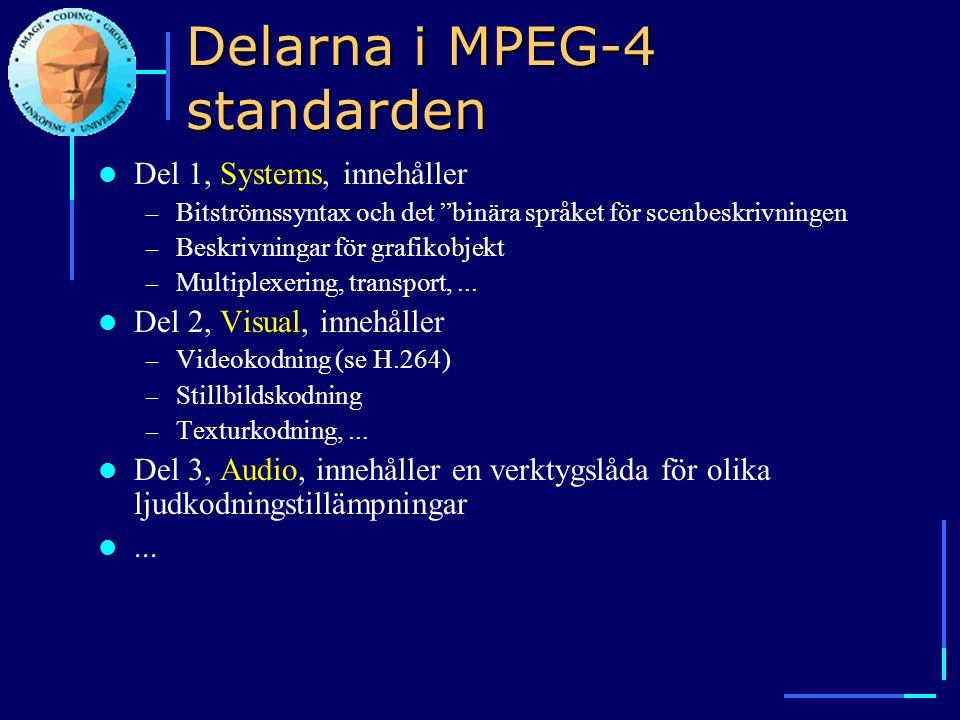 Delarna i MPEG-4 standarden