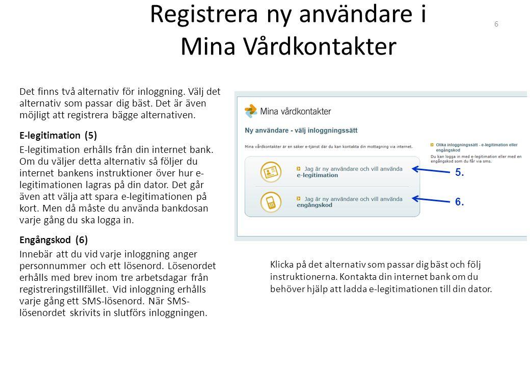 Registrera ny användare i Mina Vårdkontakter