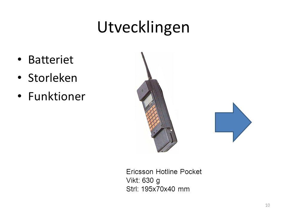 Utvecklingen Batteriet Storleken Funktioner Ericsson Hotline Pocket