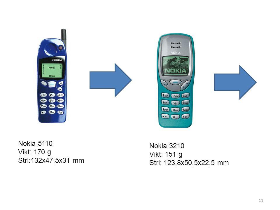 Nokia 5110 Vikt: 170 g Strl:132x47,5x31 mm Nokia 3210 Vikt: 151 g Strl: 123,8x50,5x22,5 mm