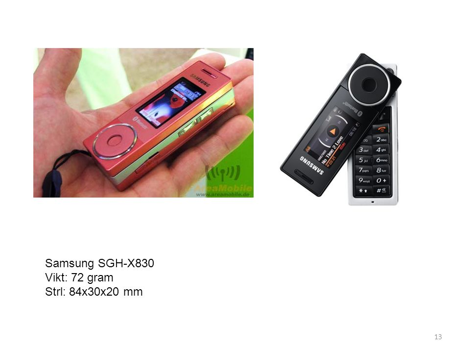 Samsung SGH-X830 Vikt: 72 gram Strl: 84x30x20 mm