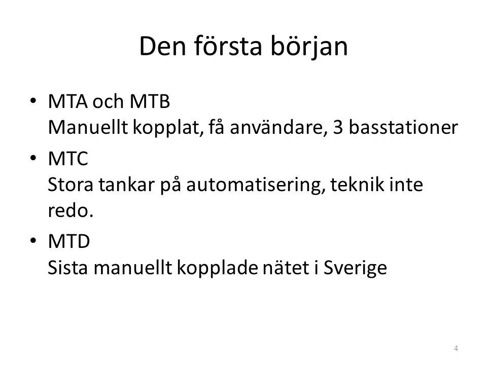 Den första början MTA och MTB Manuellt kopplat, få användare, 3 basstationer. MTC Stora tankar på automatisering, teknik inte redo.
