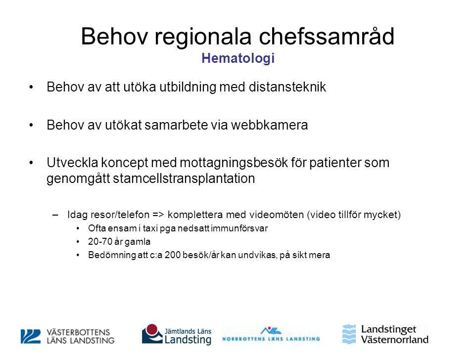 Behov regionala chefssamråd Hematologi