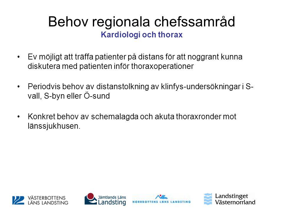 Behov regionala chefssamråd Kardiologi och thorax