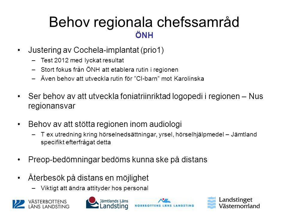 Behov regionala chefssamråd ÖNH