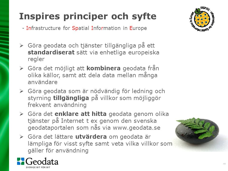 2017-04-03 Inspires principer och syfte - Infrastructure for Spatial Information in Europe.