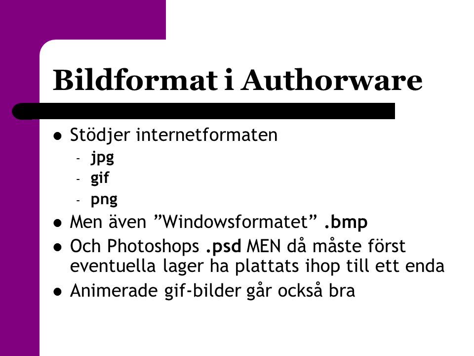 Bildformat i Authorware