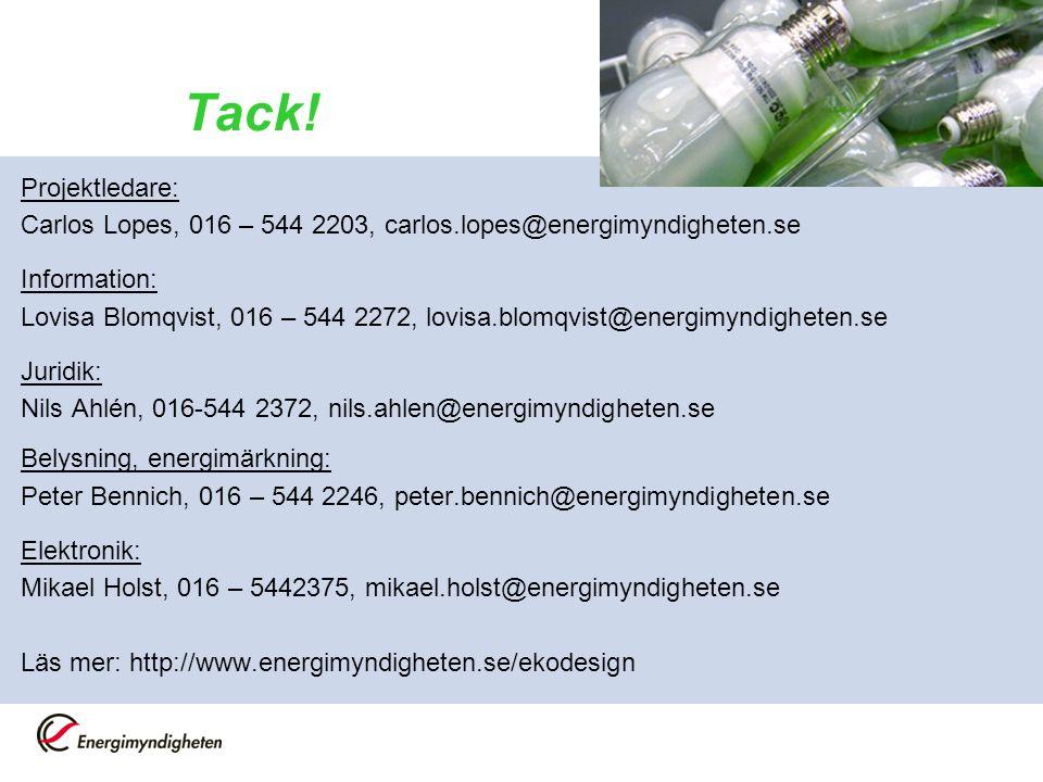 Tack! Projektledare: Carlos Lopes, 016 – 544 2203, carlos.lopes@energimyndigheten.se. Information: