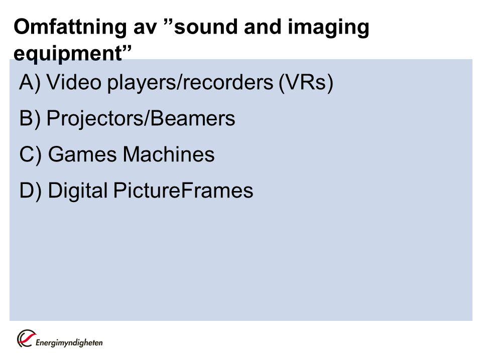Omfattning av sound and imaging equipment