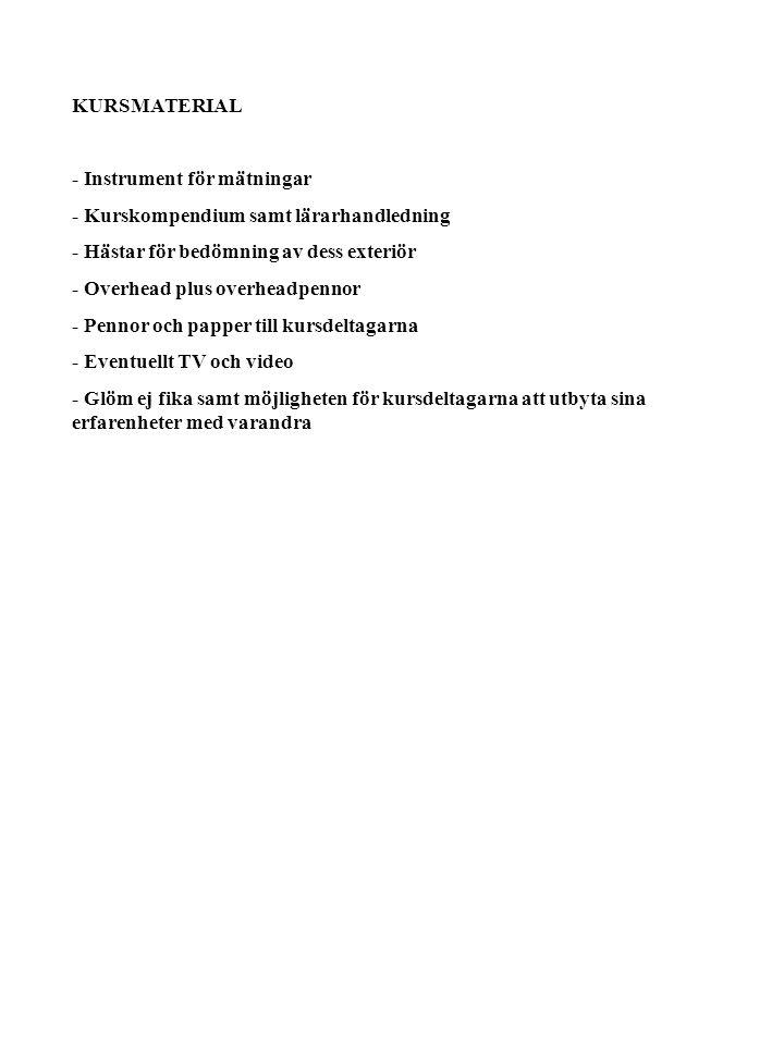 KURSMATERIAL - Instrument för mätningar. - Kurskompendium samt lärarhandledning. - Hästar för bedömning av dess exteriör.