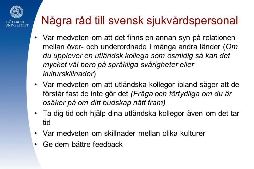 Några råd till svensk sjukvårdspersonal
