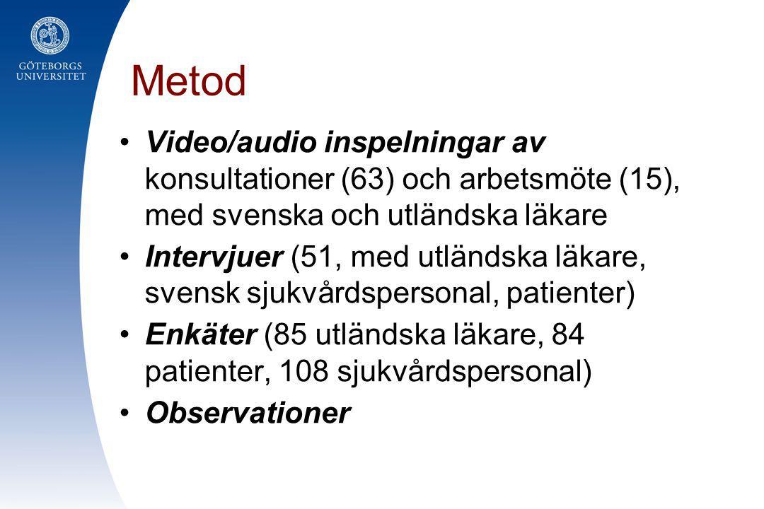 Metod Video/audio inspelningar av konsultationer (63) och arbetsmöte (15), med svenska och utländska läkare.