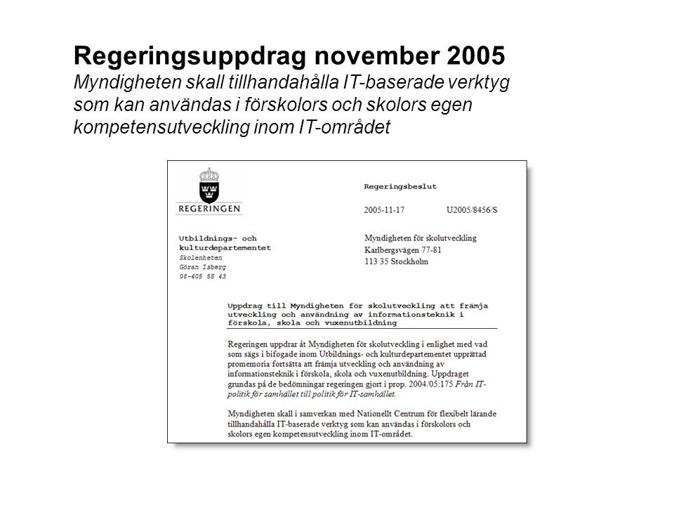 Regeringsuppdrag november 2005