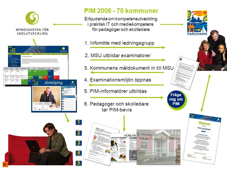 PIM 2006 - 70 kommuner 1. Infomöte med ledningsgrupp
