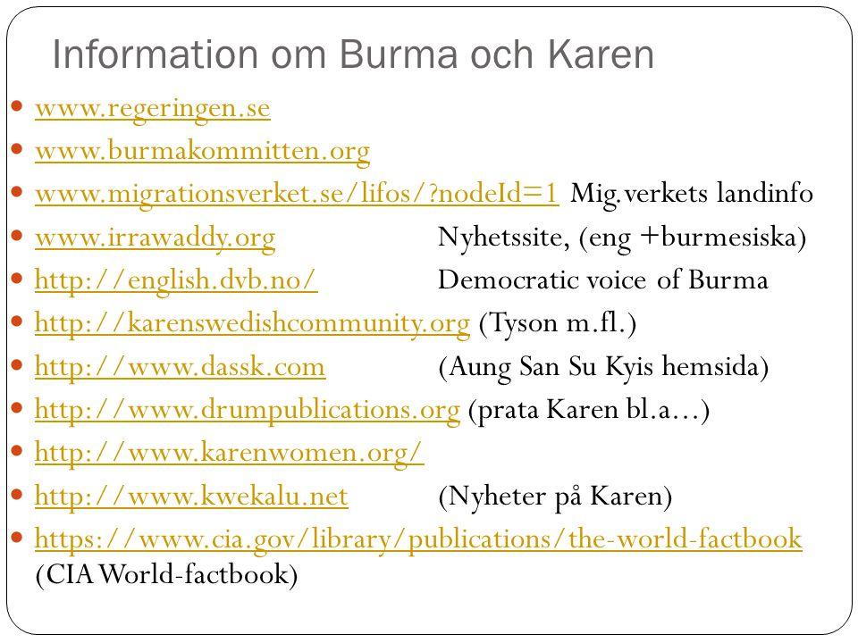 Information om Burma och Karen