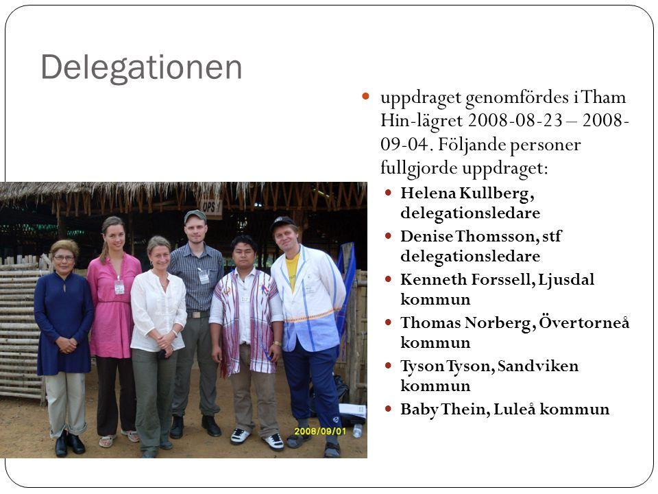 Delegationen uppdraget genomfördes i Tham Hin-lägret 2008-08-23 – 2008- 09-04. Följande personer fullgjorde uppdraget: