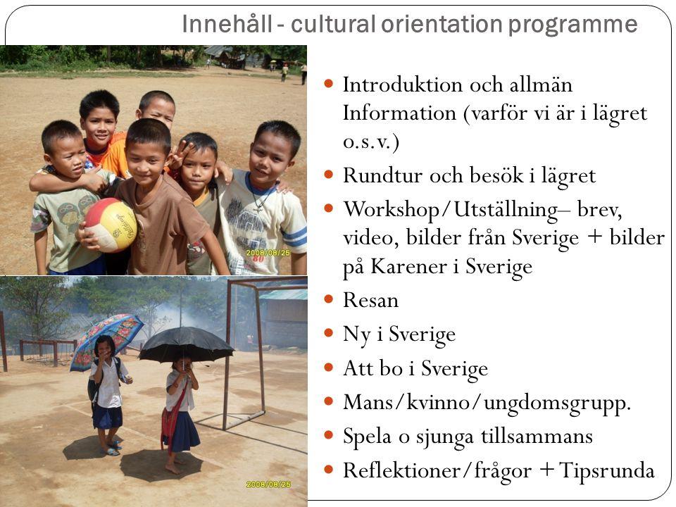 Innehåll - cultural orientation programme