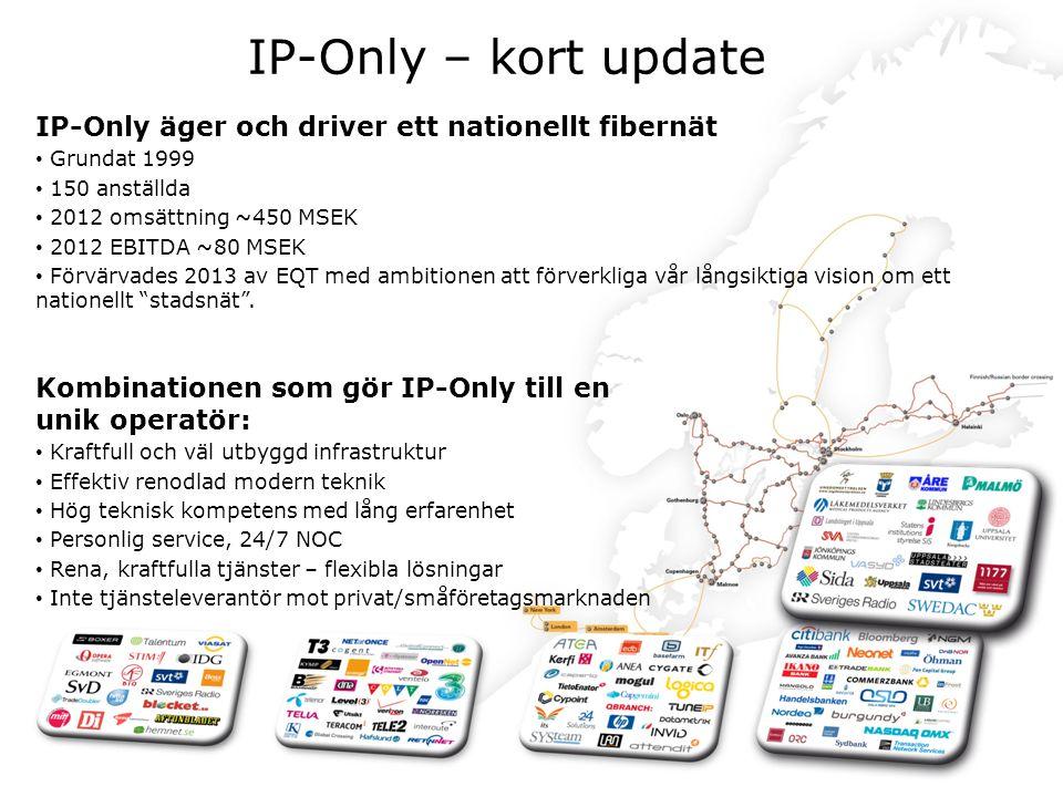 IP-Only – kort update Grundat 99 Anställda: 150 Omsättning 450