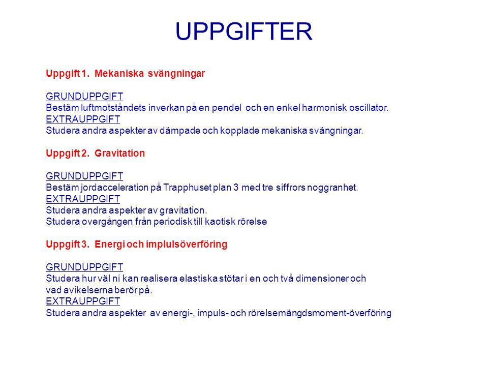 UPPGIFTER Uppgift 1. Mekaniska svängningar GRUNDUPPGIFT