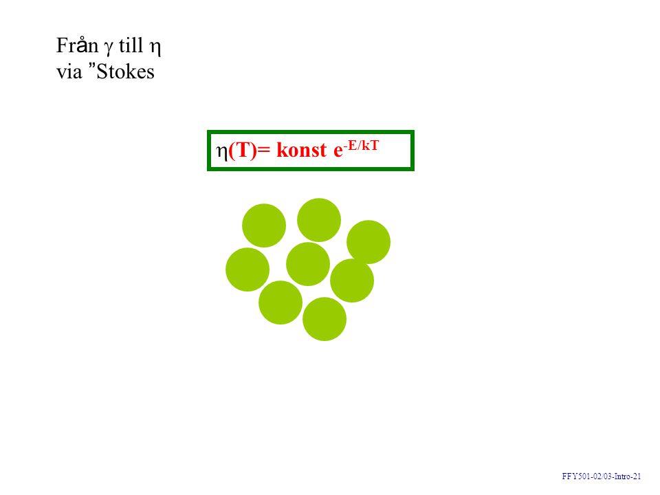 Från  till  via Stokes (T)= konst e-E/kT FFY501-02/03-Intro-21