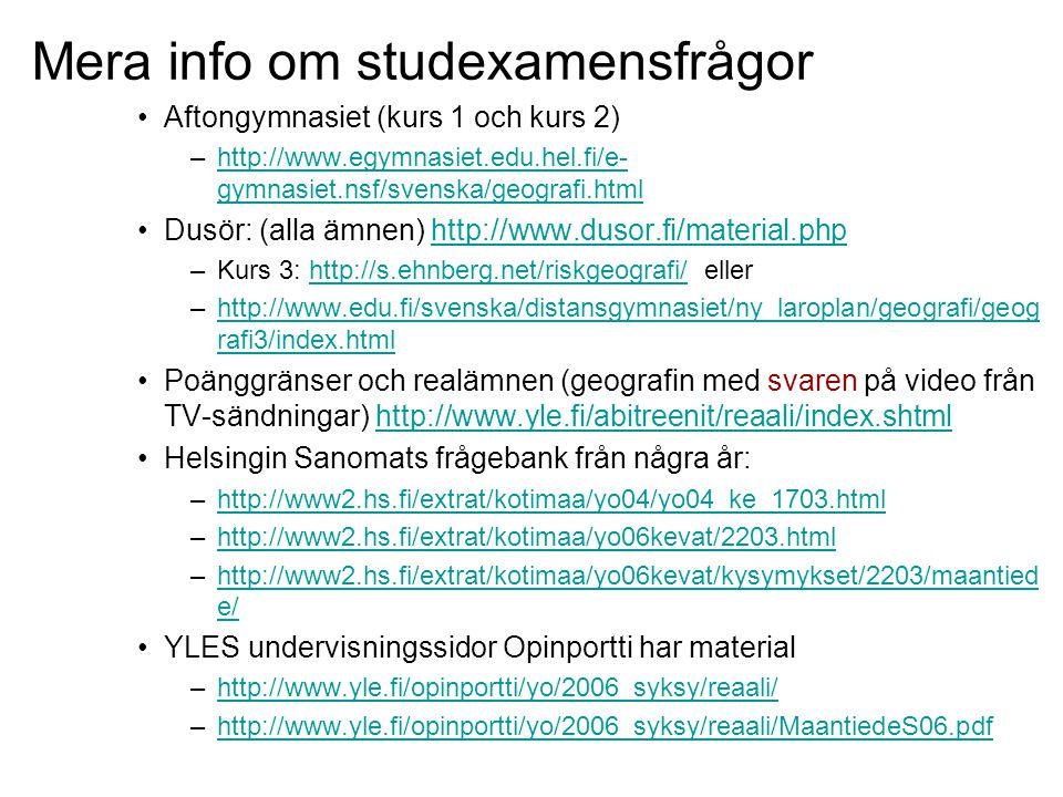 Mera info om studexamensfrågor