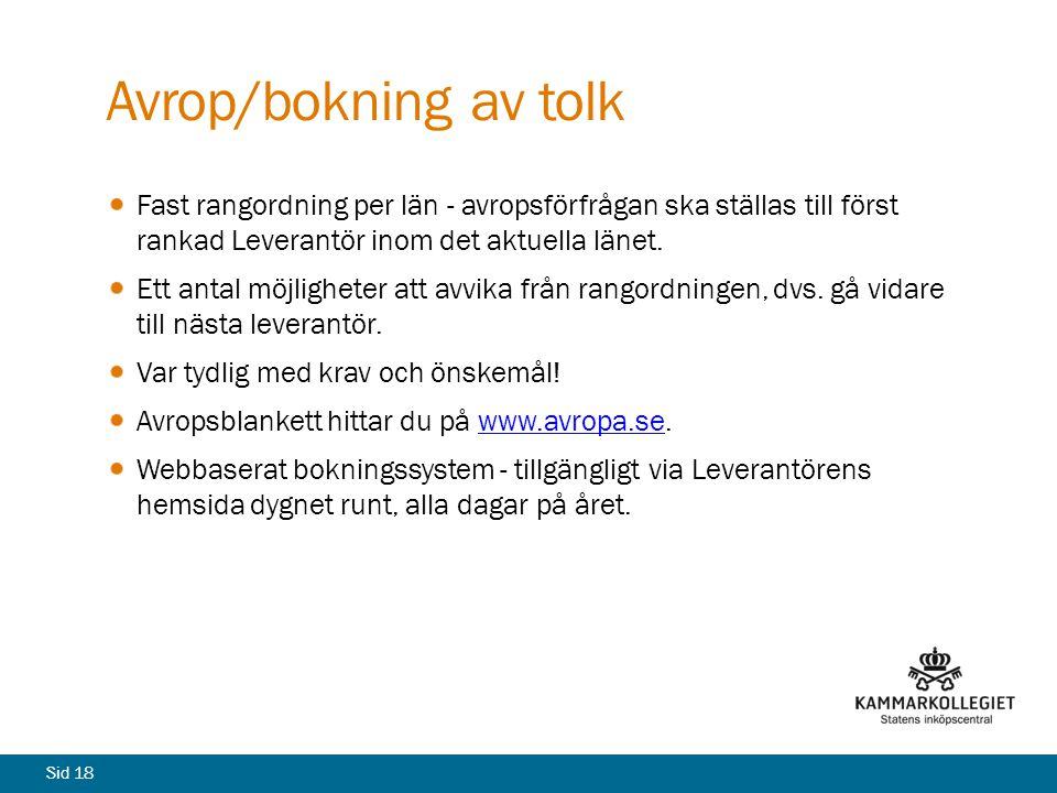 Avrop/bokning av tolk Fast rangordning per län - avropsförfrågan ska ställas till först rankad Leverantör inom det aktuella länet.
