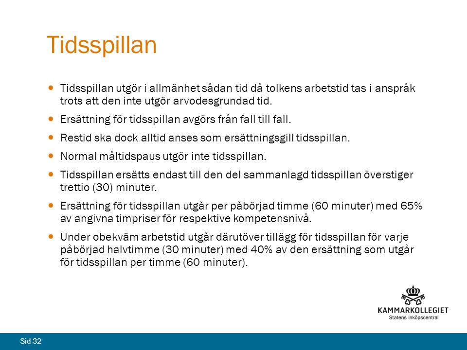 Tidsspillan Tidsspillan utgör i allmänhet sådan tid då tolkens arbetstid tas i anspråk trots att den inte utgör arvodesgrundad tid.