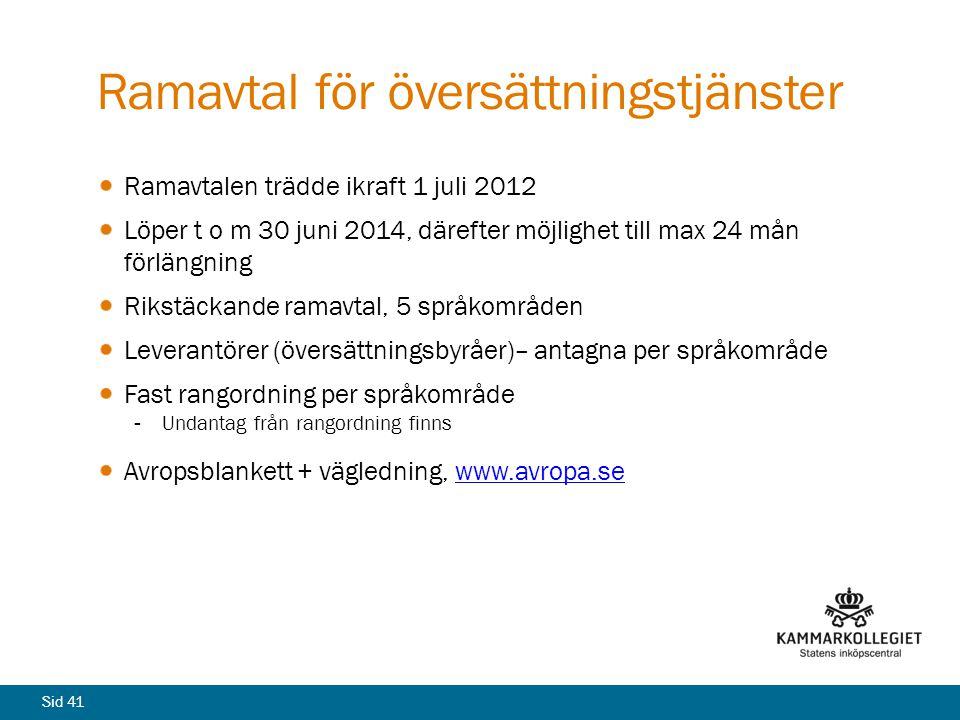 Ramavtal för översättningstjänster