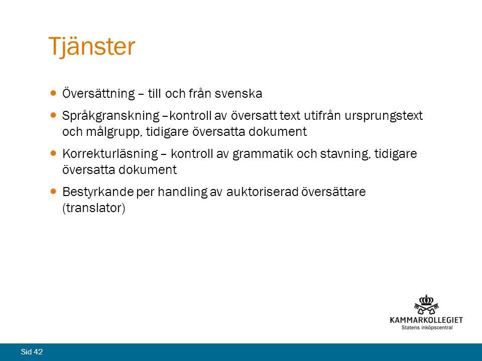 Tjänster Översättning – till och från svenska