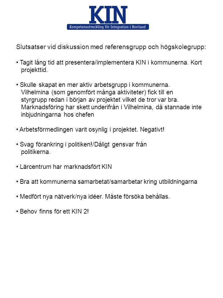 Slutsatser vid diskussion med referensgrupp och högskolegrupp: