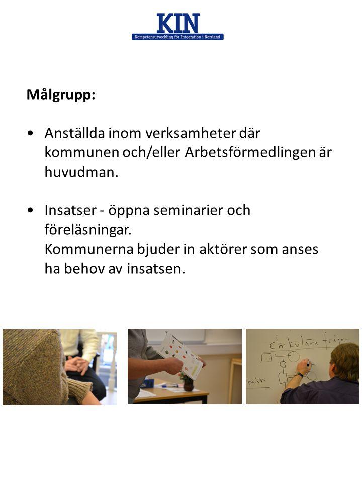 Målgrupp: Anställda inom verksamheter där kommunen och/eller Arbetsförmedlingen är huvudman. Insatser - öppna seminarier och föreläsningar.