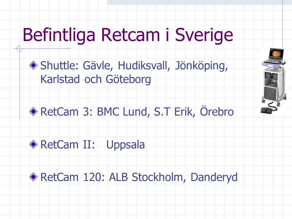 Befintliga Retcam i Sverige