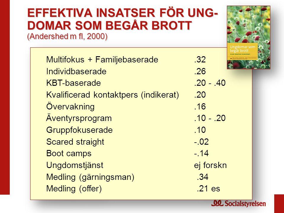 EFFEKTIVA INSATSER FÖR UNG-DOMAR SOM BEGÅR BROTT (Andershed m fl, 2000)