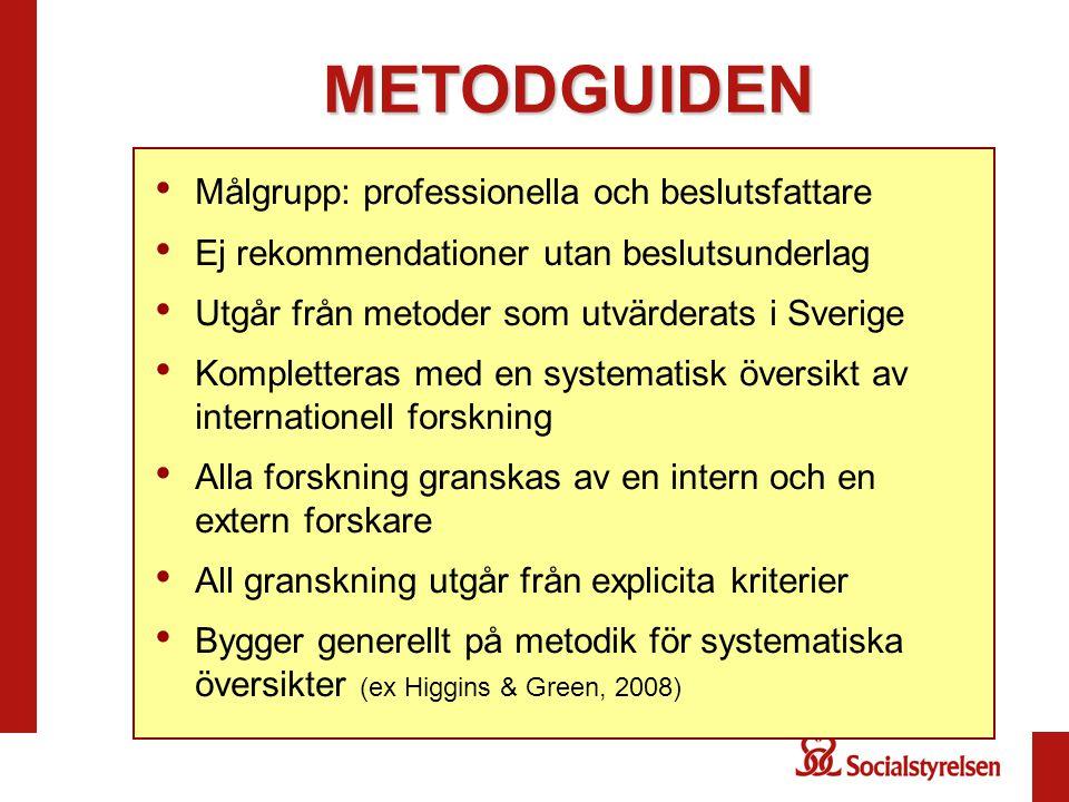 METODGUIDEN Målgrupp: professionella och beslutsfattare