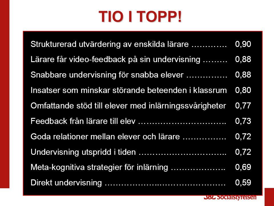 TIO I TOPP! Strukturerad utvärdering av enskilda lärare …………. 0,90