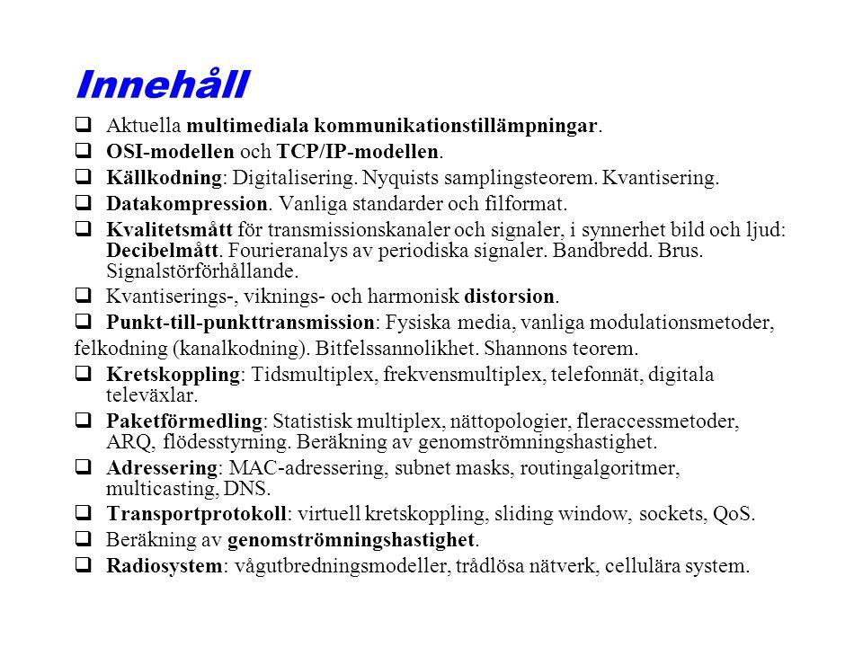 Innehåll Aktuella multimediala kommunikationstillämpningar.