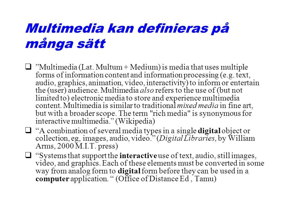 Multimedia kan definieras på många sätt