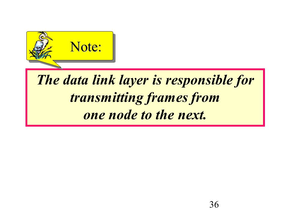 Note: The data link layer is responsible for transmitting frames from one node to the next.