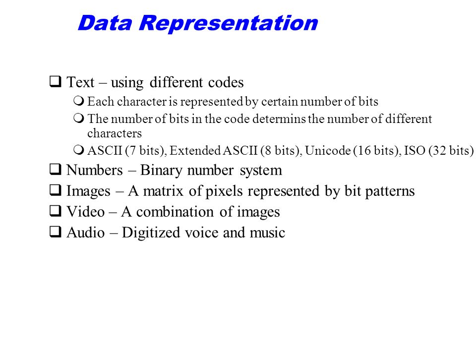 Data Representation Text – using different codes