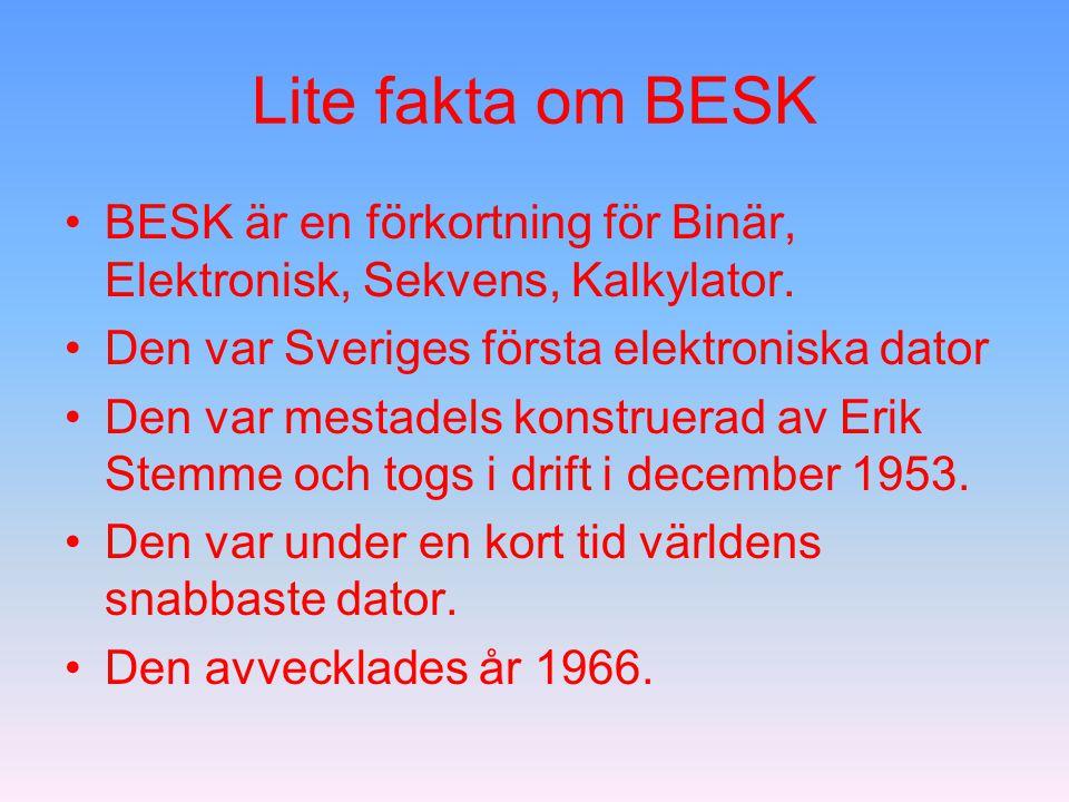 Lite fakta om BESK BESK är en förkortning för Binär, Elektronisk, Sekvens, Kalkylator. Den var Sveriges första elektroniska dator.