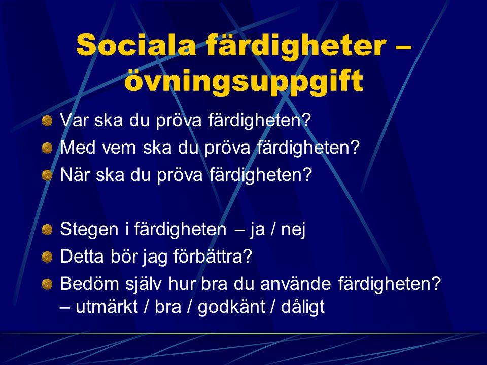 Sociala färdigheter – övningsuppgift