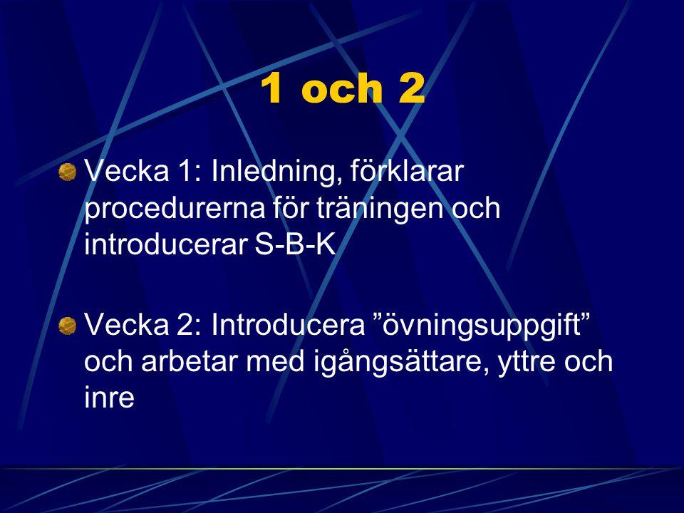 1 och 2 Vecka 1: Inledning, förklarar procedurerna för träningen och introducerar S-B-K.