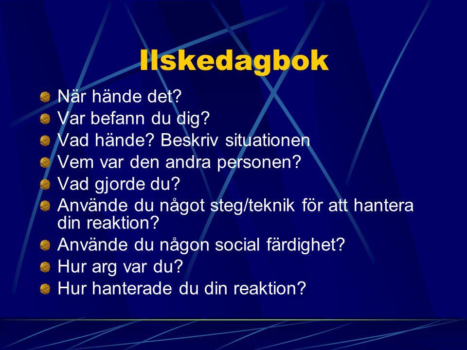 Ilskedagbok När hände det Var befann du dig