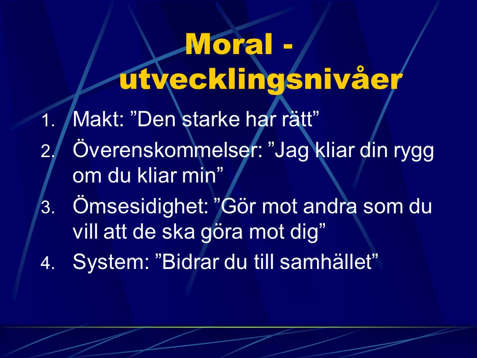 Moral - utvecklingsnivåer