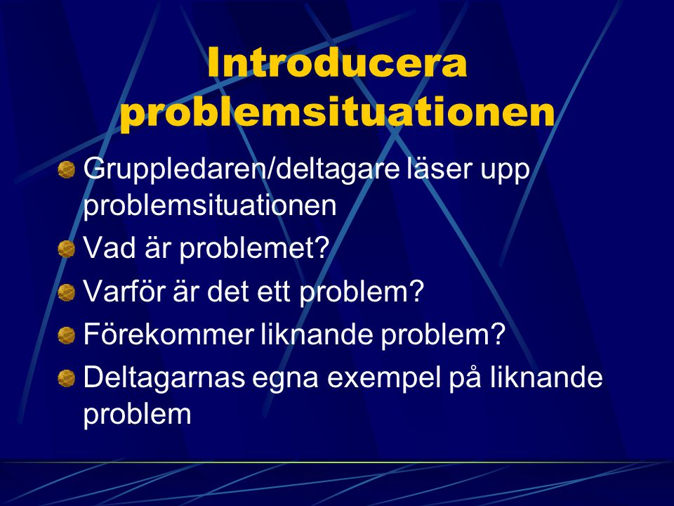 Introducera problemsituationen