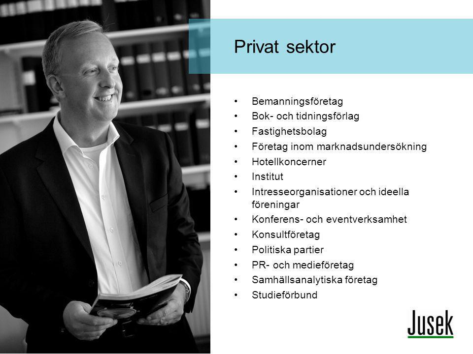 Privat sektor Bemanningsföretag Bok- och tidningsförlag