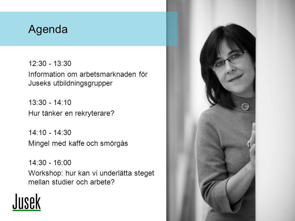 Agenda 12:30 - 13:30. Information om arbetsmarknaden för Juseks utbildningsgrupper. 13:30 - 14:10.