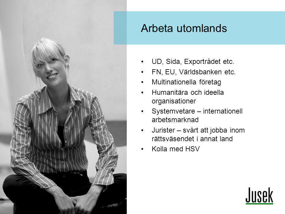 Arbeta utomlands UD, Sida, Exportrådet etc. FN, EU, Världsbanken etc.