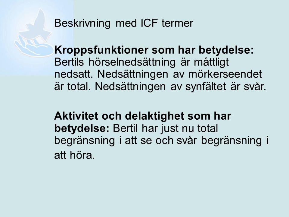 Beskrivning med ICF termer